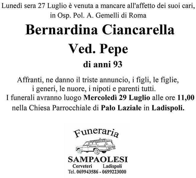 BERNARDINA CIANCARELLA ved. PEPE di anni 93